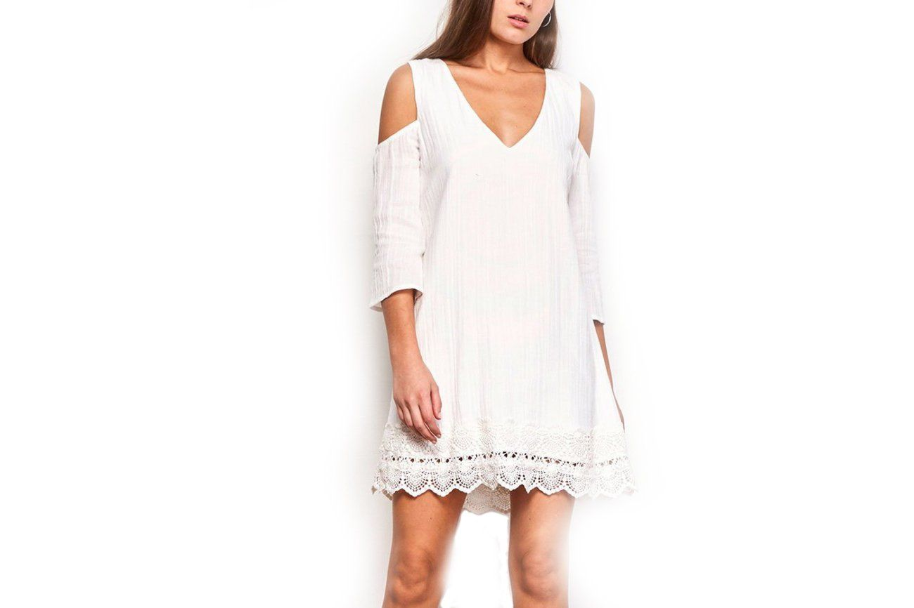 STEFANI SCALLOPED HEM DRESS WOMENS SOFTGOODS JACK OFF WHITE XS JI108573