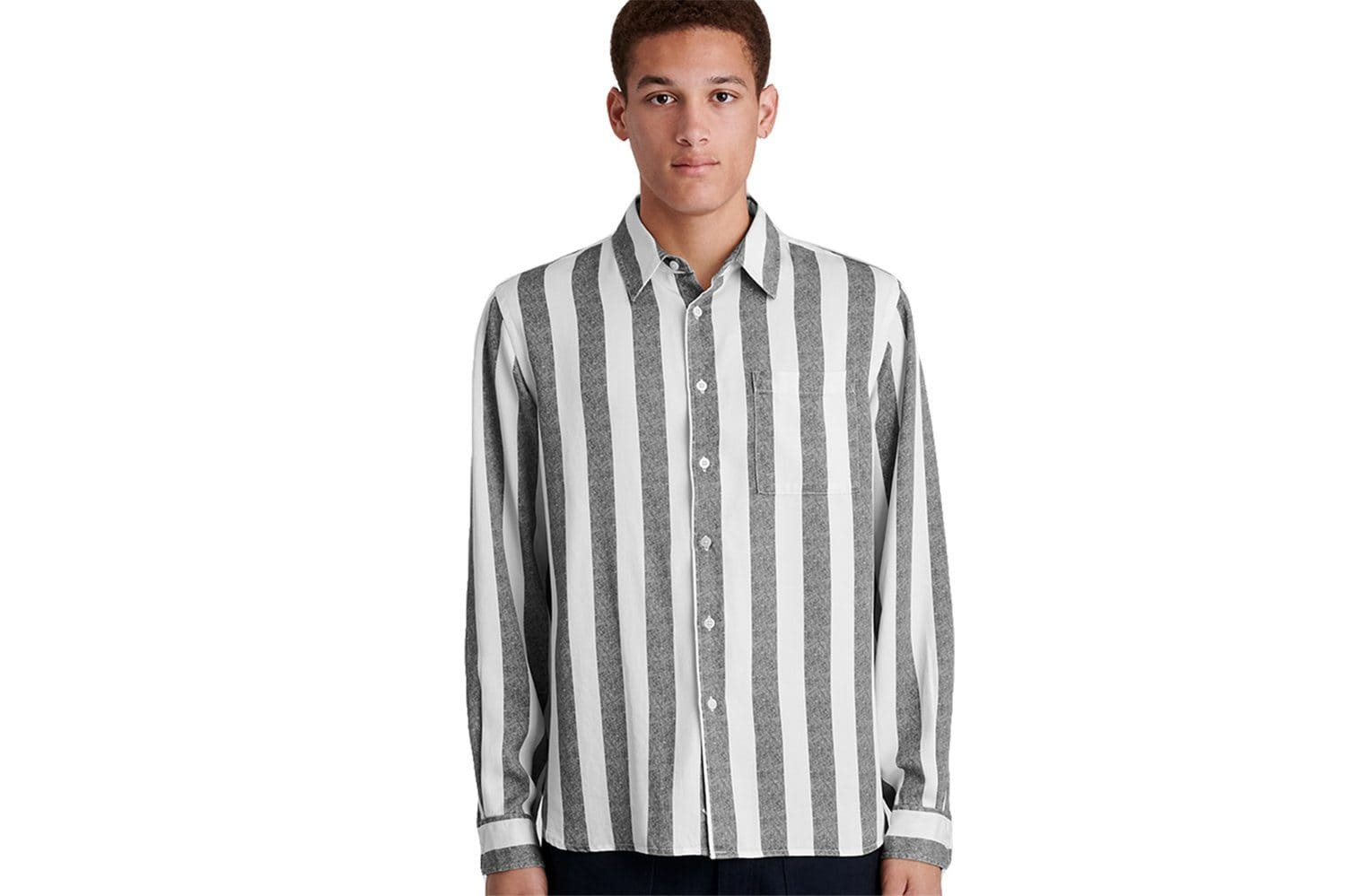 PERRY JUMBO STRIPE L/S SHIRT - M41920PY01 MENS SOFTGOODS SATURDAYS NYC