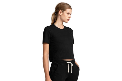 KNIT BOX FIT BLACK TEE - RC-W1007 WOMENS SOFTGOODS REIGNING CHAMP