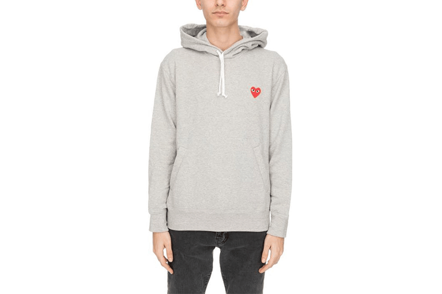 RED EMBLEM LIGHTWEIGHT HOODIE - AZT170 MENS SOFTGOODS COMME DES GARCONS