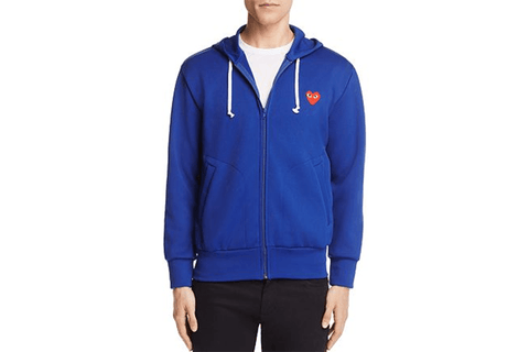 RED HEART NAVY ZIP HOODIE - AZT172 MENS SOFTGOODS COMME DES GARCONS