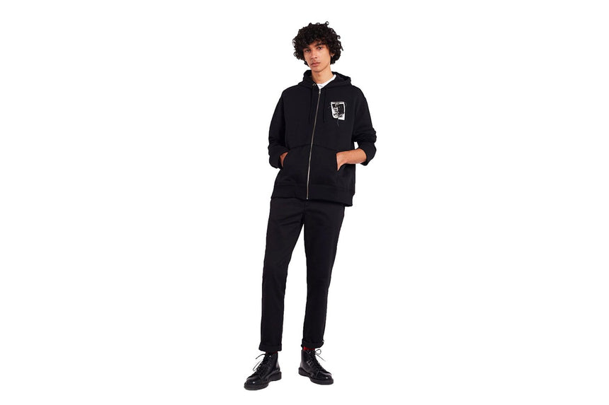 RAF PATCHED ZIP THROUGH HOODY - SJ9045 MENS SOFTGOODS FRED PERRY
