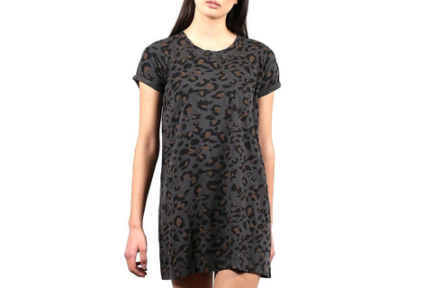 LEOPARD TSHIRT DRESS-BTL125 WOMENS SOFTGOODS BRUNETTE THE LABEL