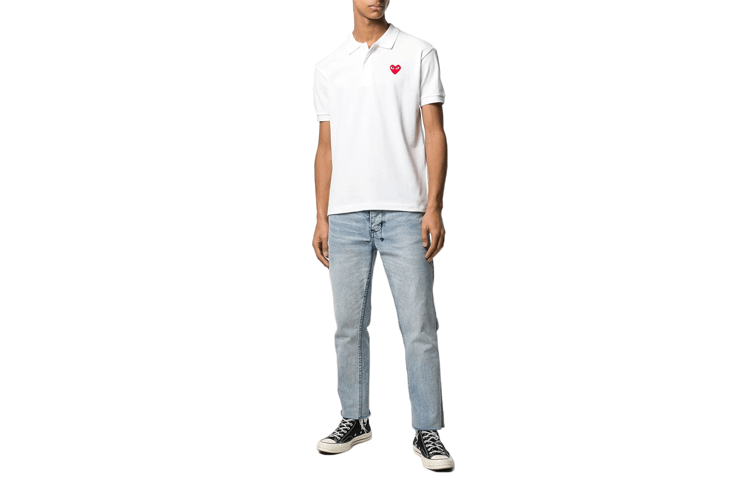 SMALL RED HEART WHITE POLO - AZT006 MENS SOFTGOODS COMME DES GARCONS