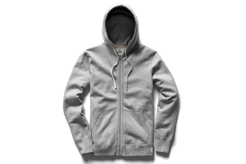 H.GREY KNIT MID WT TERRY FULL ZIP HOODIE RC-3205-1