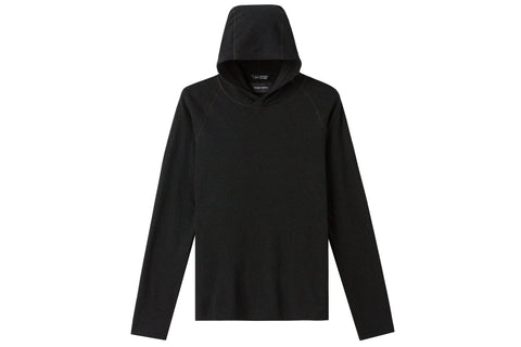 KNIT LOOP KNIT RAGLAN HOODED PULLOVER BLACK