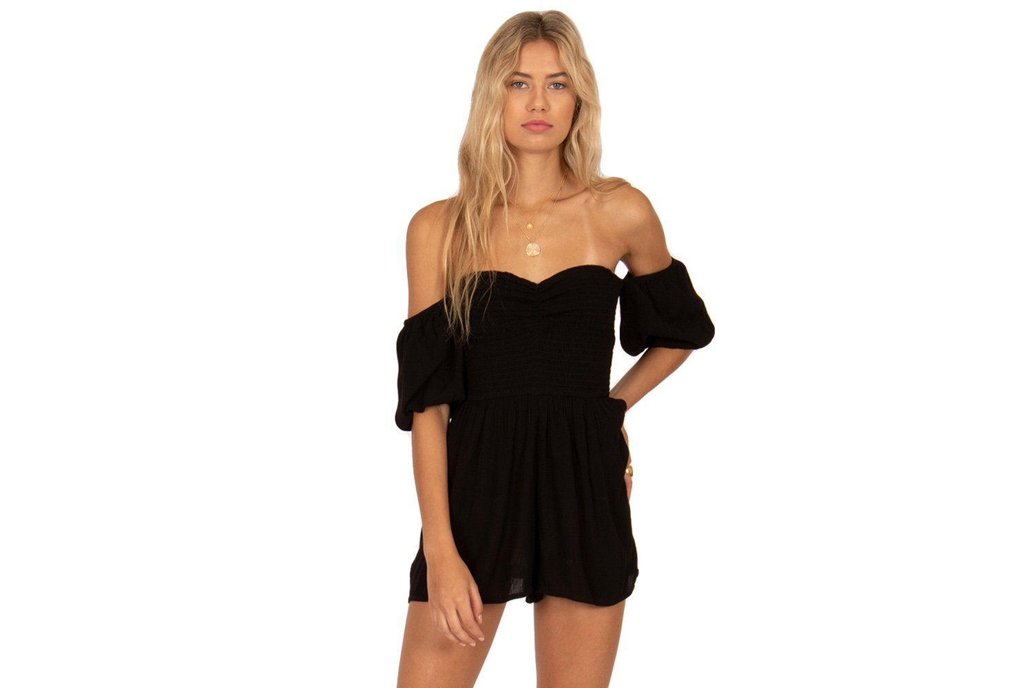 SUNSET SURF MINI WOVEN ROMPER - AJ04LSUN WOMENS SOFTGOODS AMUSE SOCIETY