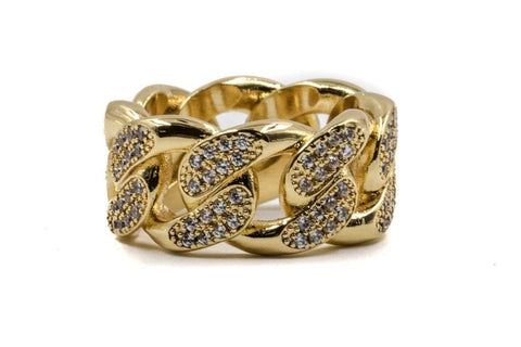STUDDED CUBAN LINK RING JEWELRY GOLDEN GILT