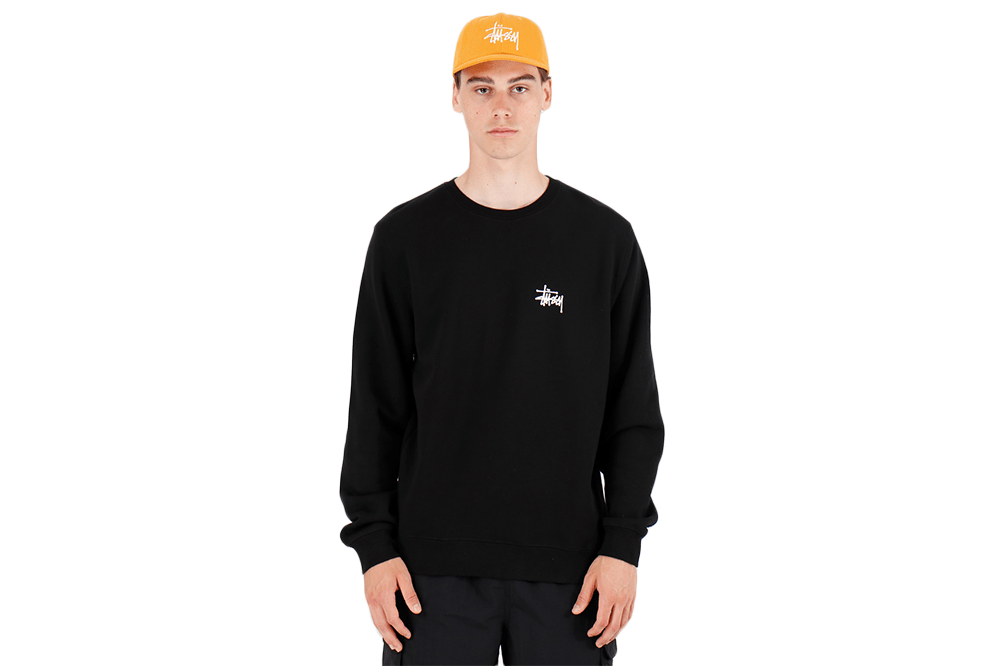 The Stussy Basic Stussy Crew Black Front View