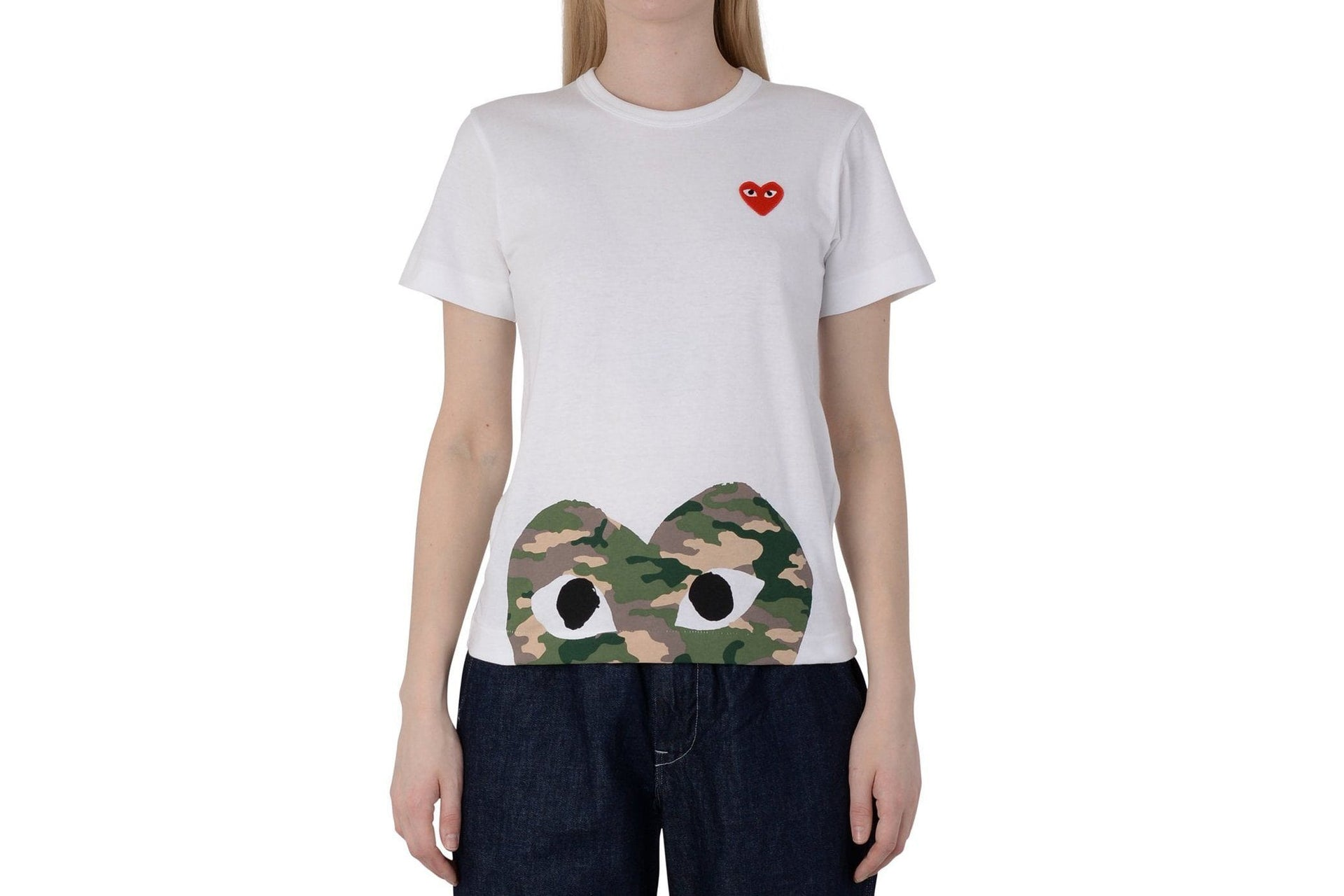 SMALL RED HEART/BIG CAMO HEART BOTTOM WOMENS SOFTGOODS COMME DES GARCONS