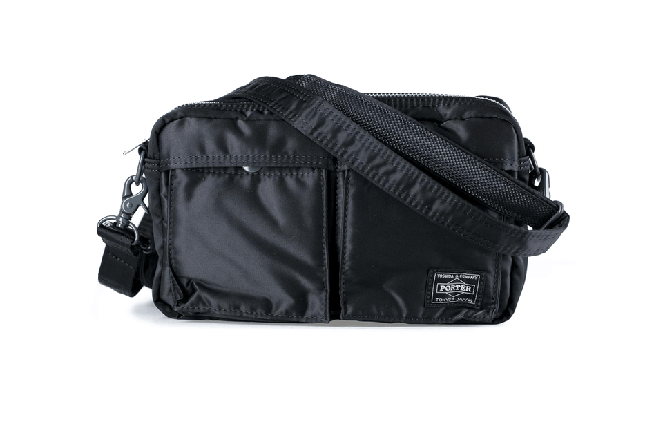 Porter's tanker shoulder bag in black. Front view.