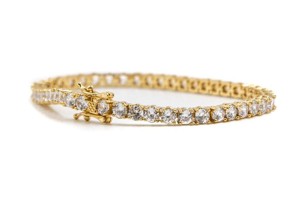 "GOLD TENNIS BRACELET 8"" JEWELRY GOLDEN GILT"