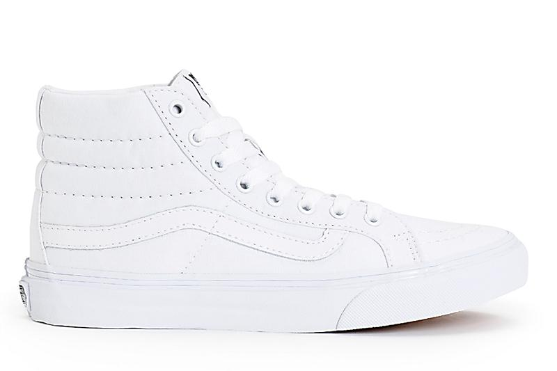 SK8-HI SLIM WOMENS FOOTWEAR VANS (CANVAS) TRUEWHITE 4.0Y