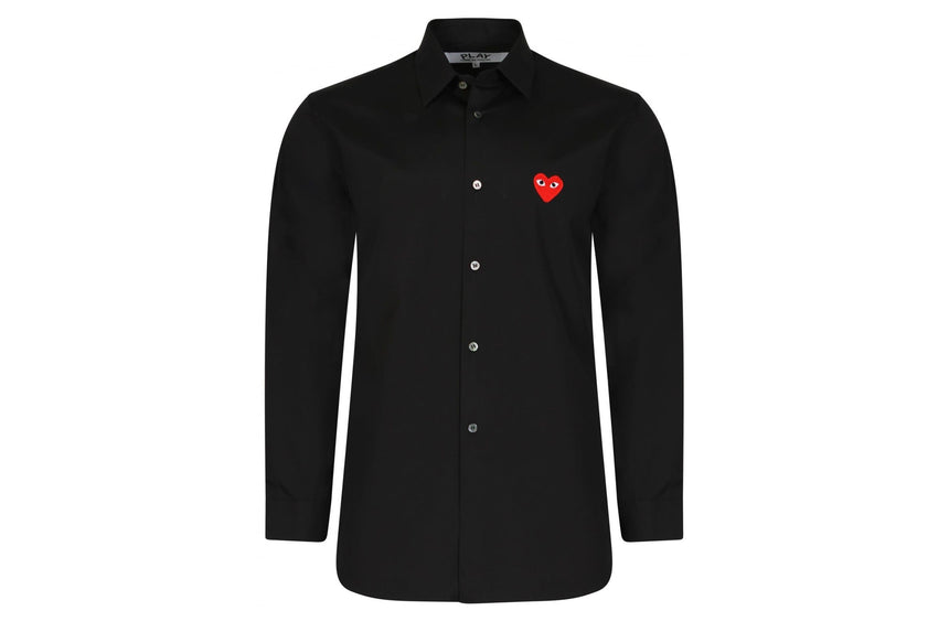BUTTON UP LS RED HEART/BLACK - AZB012