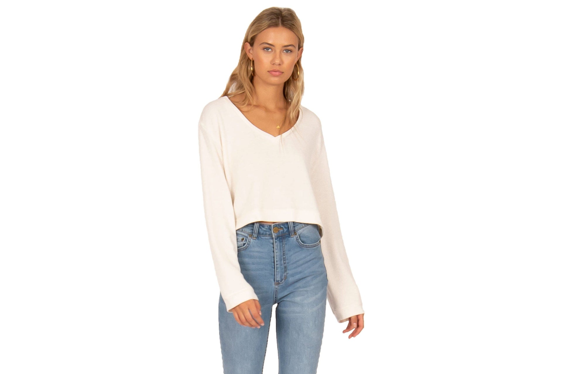 COCONUT GROVE CROPPED LS KNIT WOMENS SOFTGOODS AMUSE SOCIETY XS WHITE