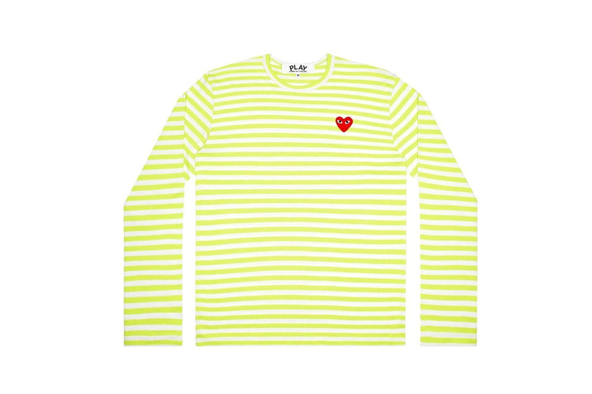 MEN'S PASTELLE GREEN STRIPE LONGSLEEVE - AZT278 MENS SOFTGOODS COMME DES GARCONS