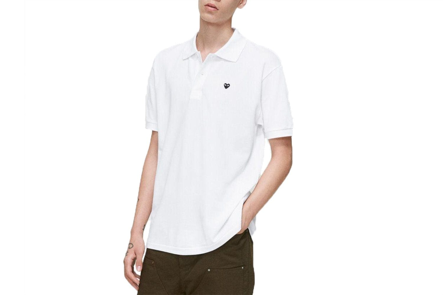 SMALL BLACK HEART WHITE POLO - AZT066 MENS SOFTGOODS COMME DES GARCONS