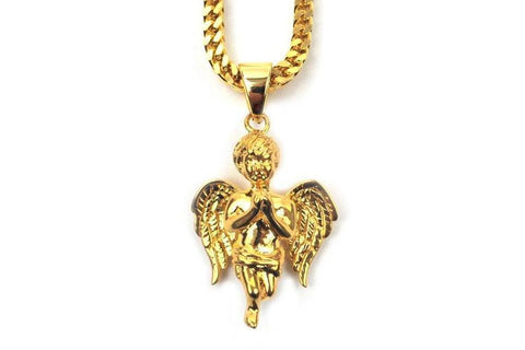"28"" MICRO FALLEN ANGEL NECKLACE - GFANGEL28FC JEWELRY THE GOLD GODS"
