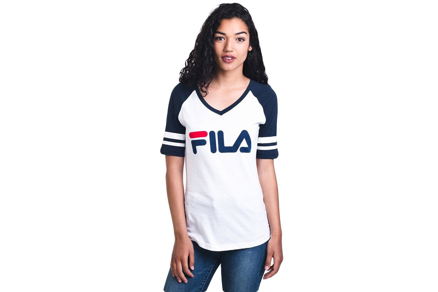BASEBALL V NECK TEE- LW811892-101 WOMENS SOFTGOODS FILA WHITE/ ROYB S