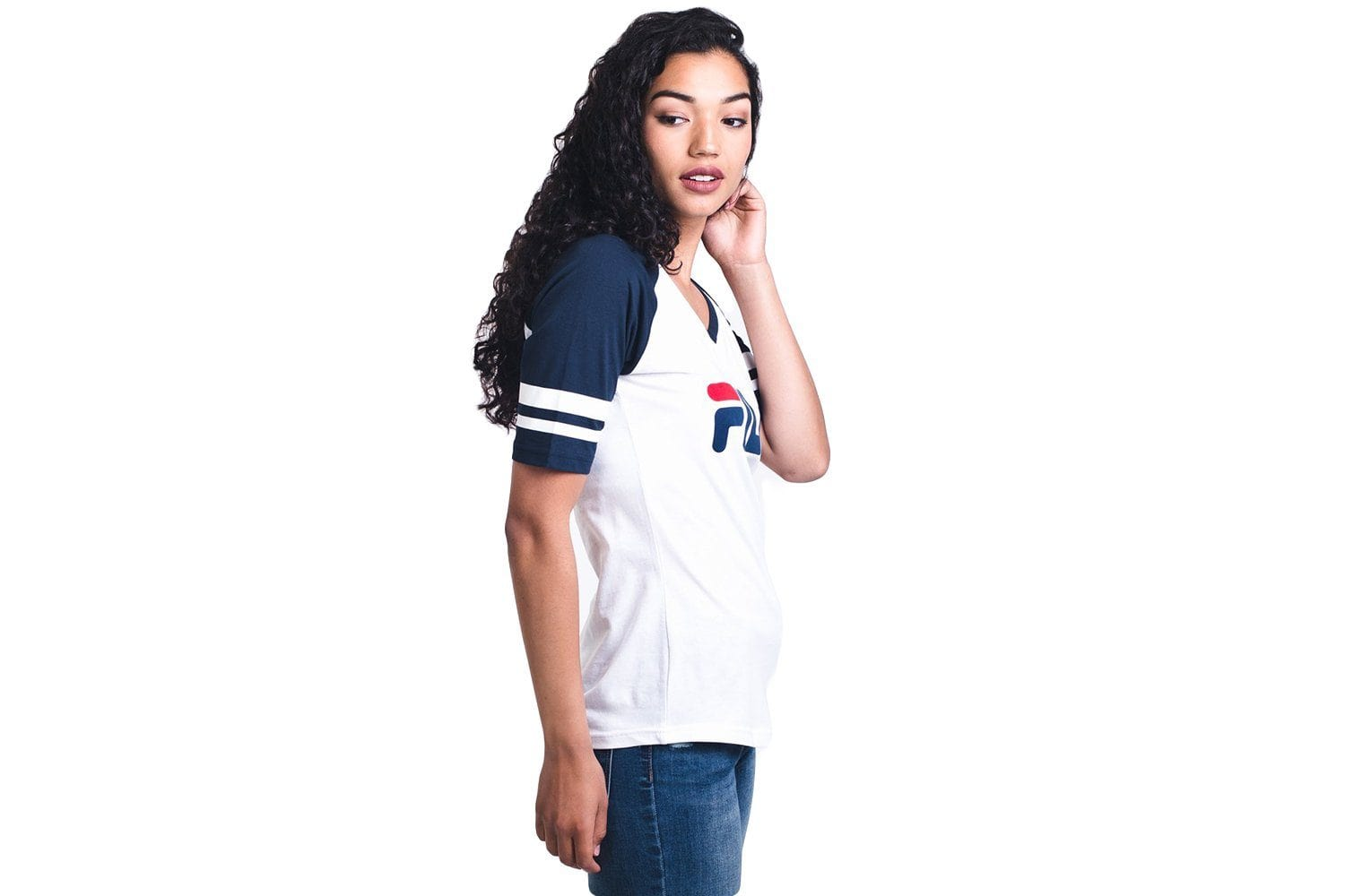 BASEBALL V NECK TEE- LW811892-101 WOMENS SOFTGOODS FILA