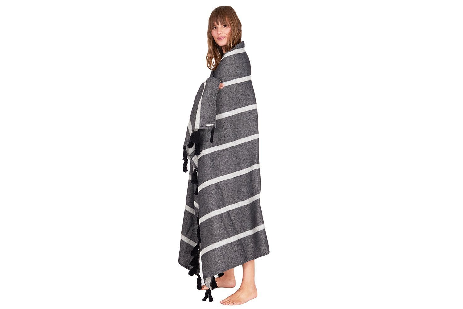 FINE LINE BLANKET - AA03KFIN WOMENS SOFTGOODS AMUSE SOCIETY BLACK