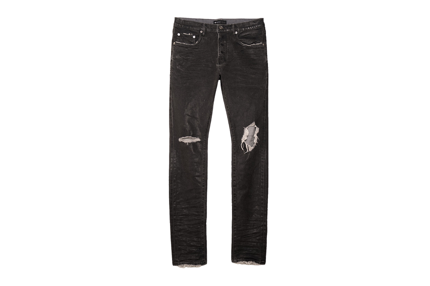 PURPLE SLIM FIT WAX COATED DISTRESSED JEANS