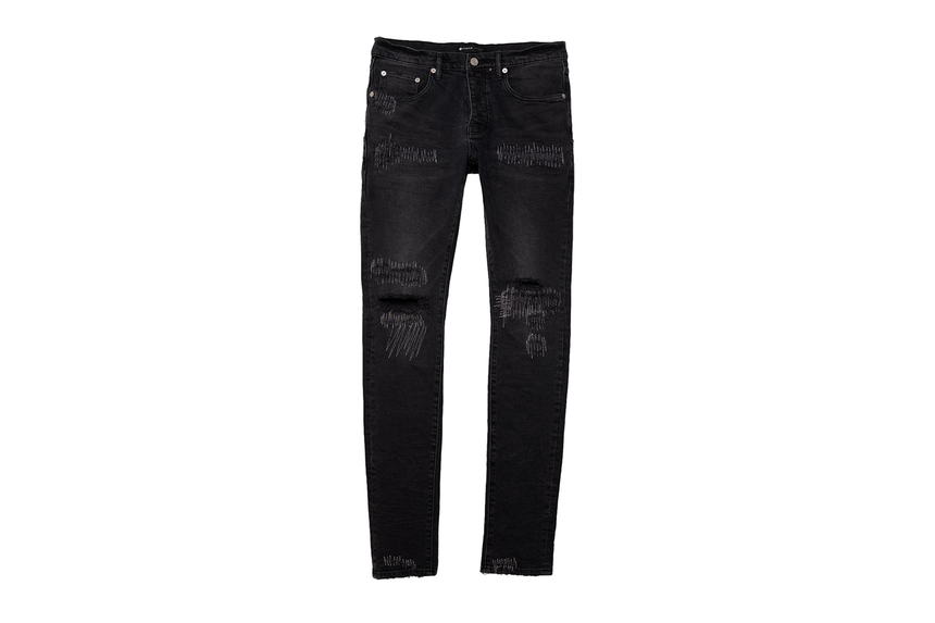 PURPLE JEANS BLACK WASH REFLECTIVE REPAIR