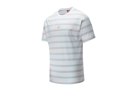 NB ATHLETICS PREP STRIPE WHITE TEE - MT01514