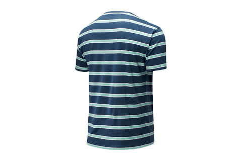 NB ATHLETICS PREP STRIPE NAVY TEE - MT01514
