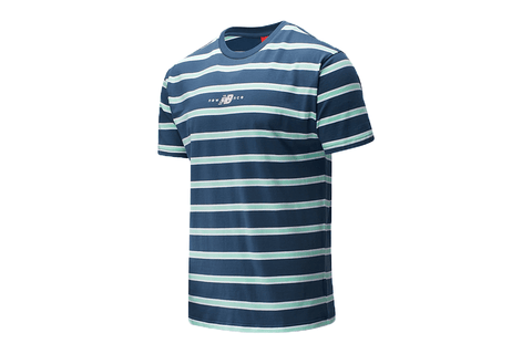 NB ATHLETICS PREP STRIPE NAVY TEE - MT01514 MENS SOFTGOODS NEW BALANCE