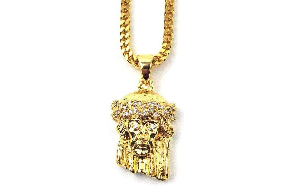 "28"" Micro Jesus Piece Necklace - GJP28FC JEWELRY THE GOLD GODS"