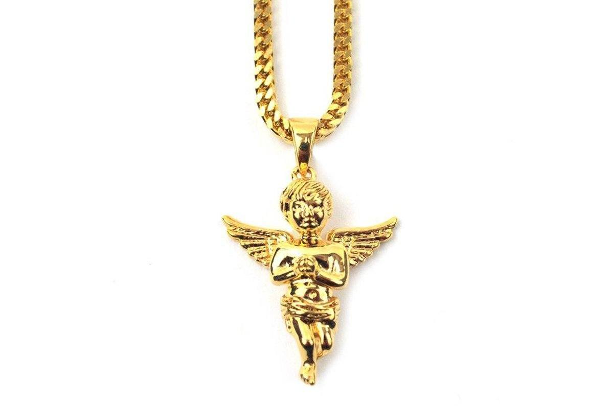 "28"" MICRO ANGEL PIECE NECKLACE - GANGEL28FC JEWELRY THE GOLD GODS"