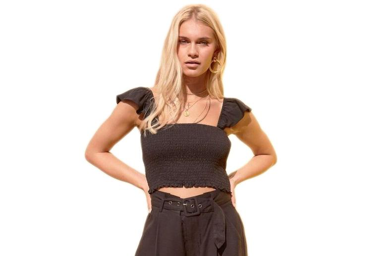 TENCEL SMOCKED CROP TOP - IB19S1900 WOMENS SOFTGOODS MINK PINK