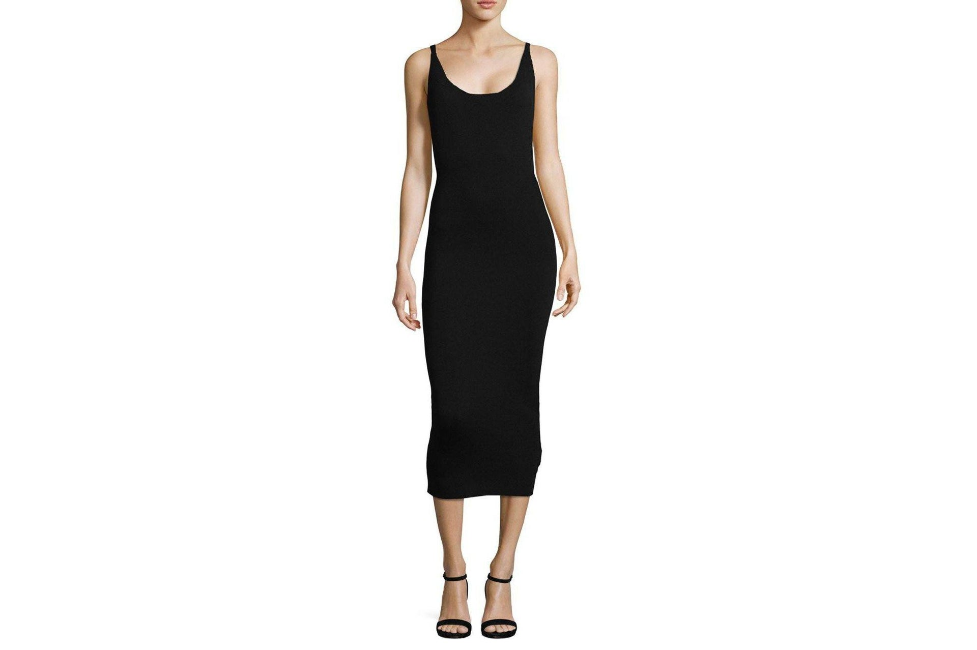 KNITTED BODYCON MIDI DRESS WOMENS SOFTGOODS MINK PINK BLACK XS