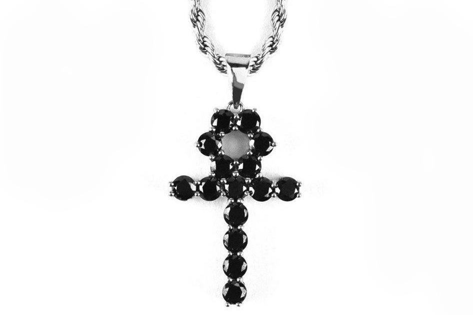 "22"" MICRO ONYX ANKH NECKLACE WHITE GOLD - WGOANKH22RC JEWELRY THE GOLD GODS"