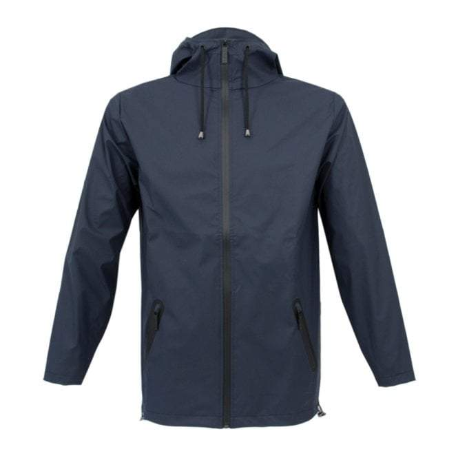 Navy blue Rains rain jacket.
