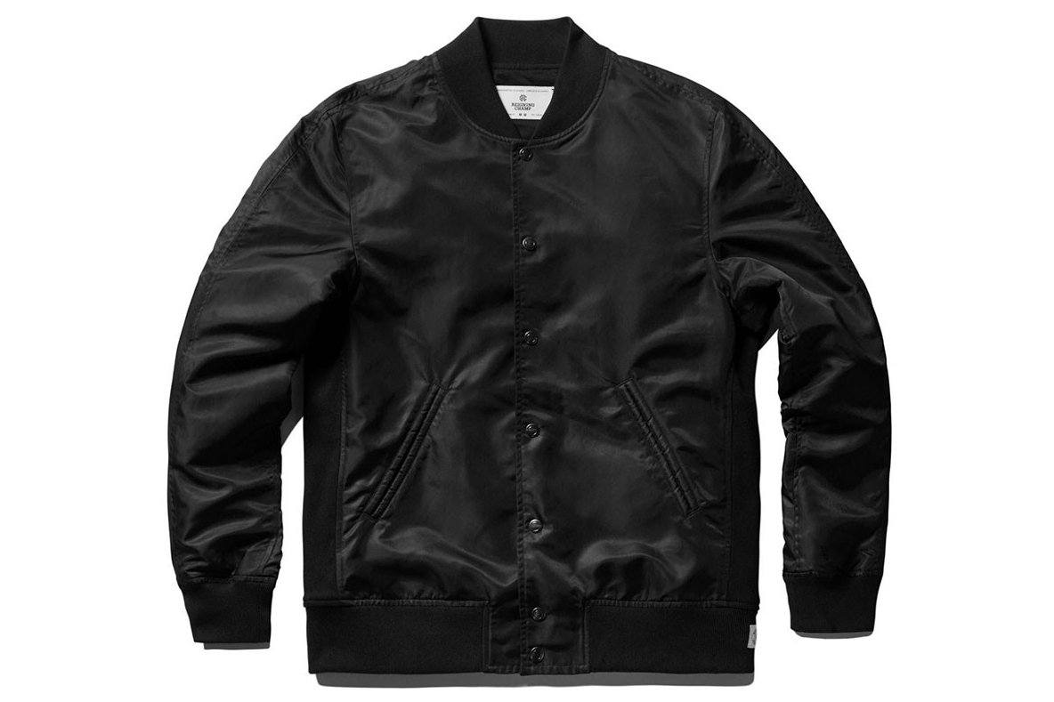 LT WT EMBR SATIN STADIUM JACKET RC-4075 MENS SOFTGOODS REIGNING CHAMP BLACK L RC-4075