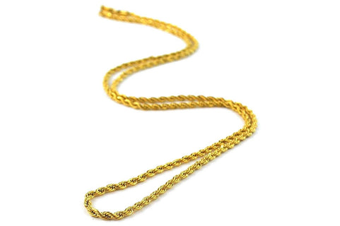 "2.5mm 16"" Rope Chain - GRO25MMC16 JEWELRY THE GOLD GODS"