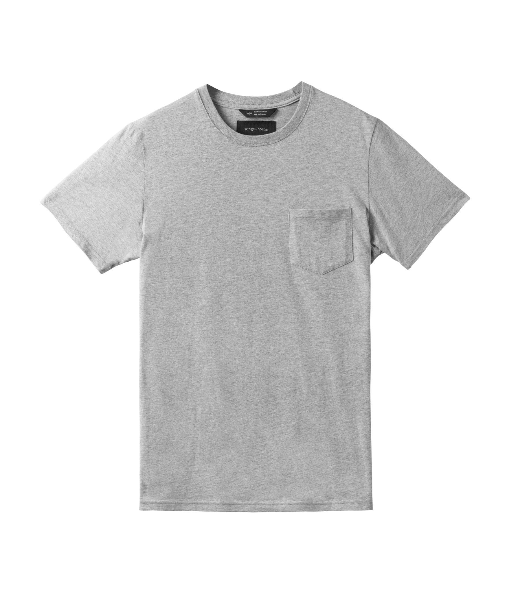 ORIGINAL POCKET T-SHIRT MENS SOFTGOODS WINGS+HORNS GREY XL WI-1079