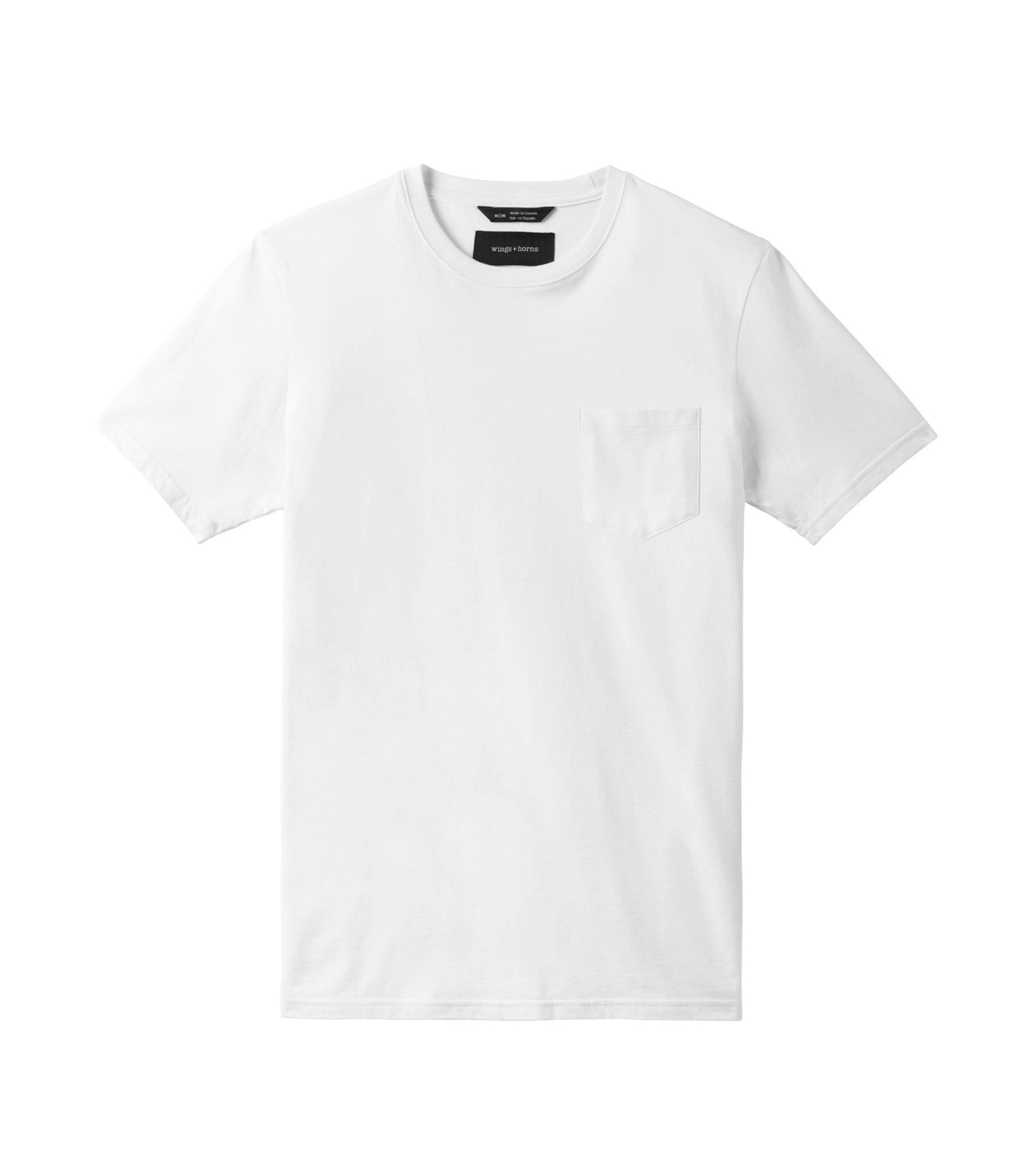 ORIGINAL POCKET T-SHIRT MENS SOFTGOODS WINGS+HORNS WHITE L WI-1079