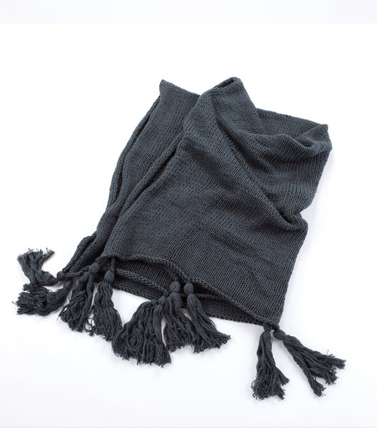 Alhambra Hand Knit Cotton Throw - Midnight