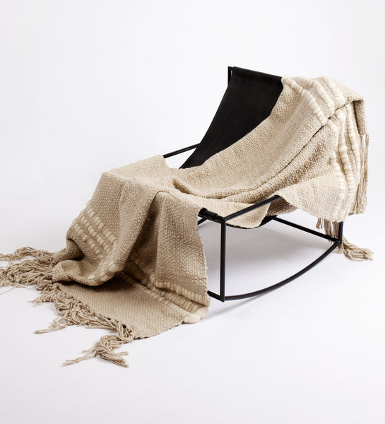 Alma Handwoven Cotton Throw - Cement