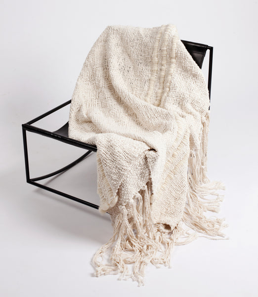Alma Handwoven Cotton Throw - Ivory