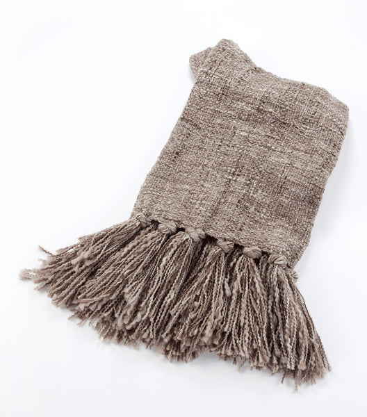 Arena Hand Knit Wool Throw - Greige