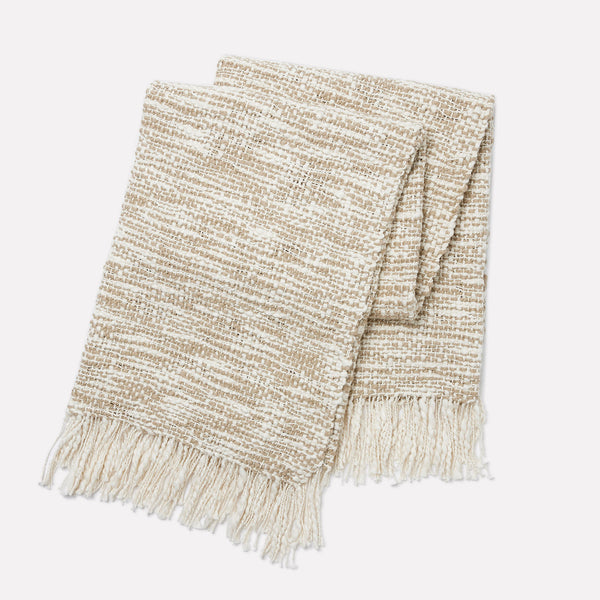 Aurora Handwoven Cotton Throw - Cafe