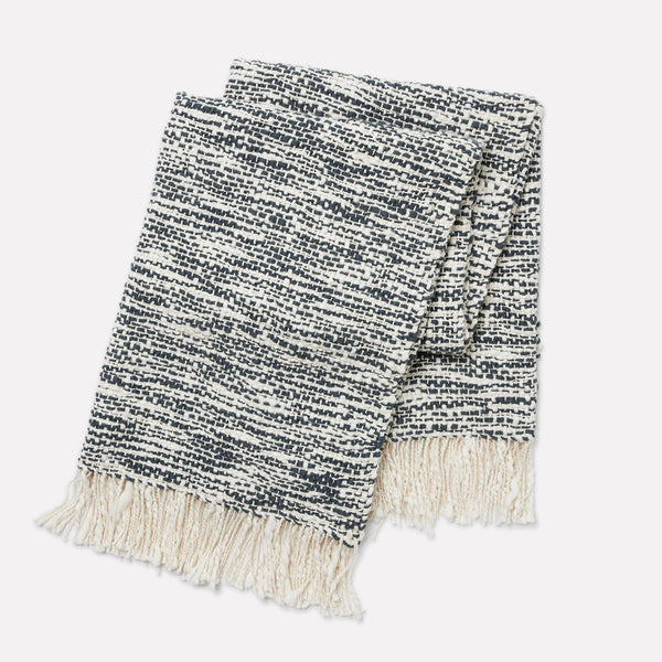 Aurora Handwoven Cotton Throw - Midnight Blue