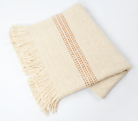 Cuero Handwoven Wool Throw w/ Brown Leather