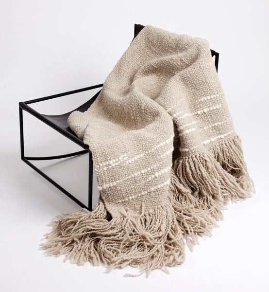 Espuma Handwoven Wool Throw - Ivory/Grey