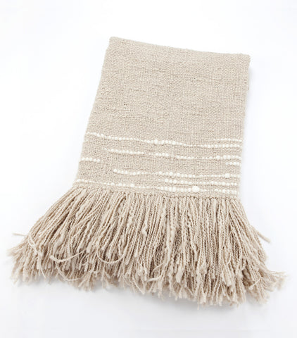 Espuma Handwoven Wool Throw - Grey w/ Ivory Stripe