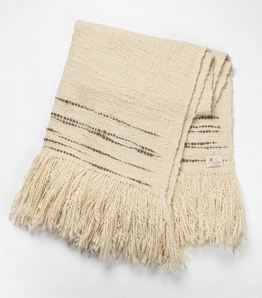 Espuma Handwoven Wool Throw - Ivory w/ Grey Stripe